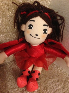 Lulu, the Ladybug Girl. The main character in a series of books that we love. She was a birthday gift from a friend, along with a few of the series' titles.