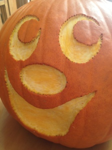 This year's carved pumpkin. She choose the face, we did most of it together, then mommy completed the harder steps.