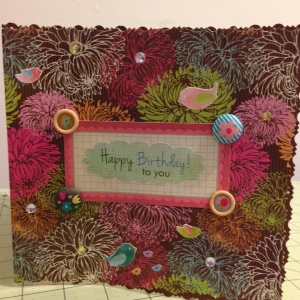 This was cut from a file folder, that caught my eye in the store, which is how I choose my materials -- instant inspiration. This is the front of the birthday card that I made for my friend, Kathleen. -- October 2013.