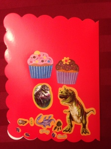 And the back. Cupcakes. Dinosaurs. Sounds like a party to me!