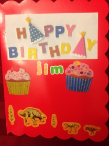 This is the front of the birthday card that my daughter made for her uncle. (Pre-cut cards are great for when your kid wants to get in on creating paper greetings!) - February 2014