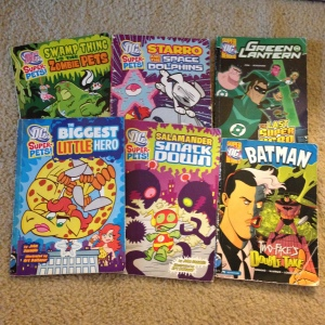 The six titles of Super DC Heroes and DC Super-Pets! we currently have on loan from the library.
